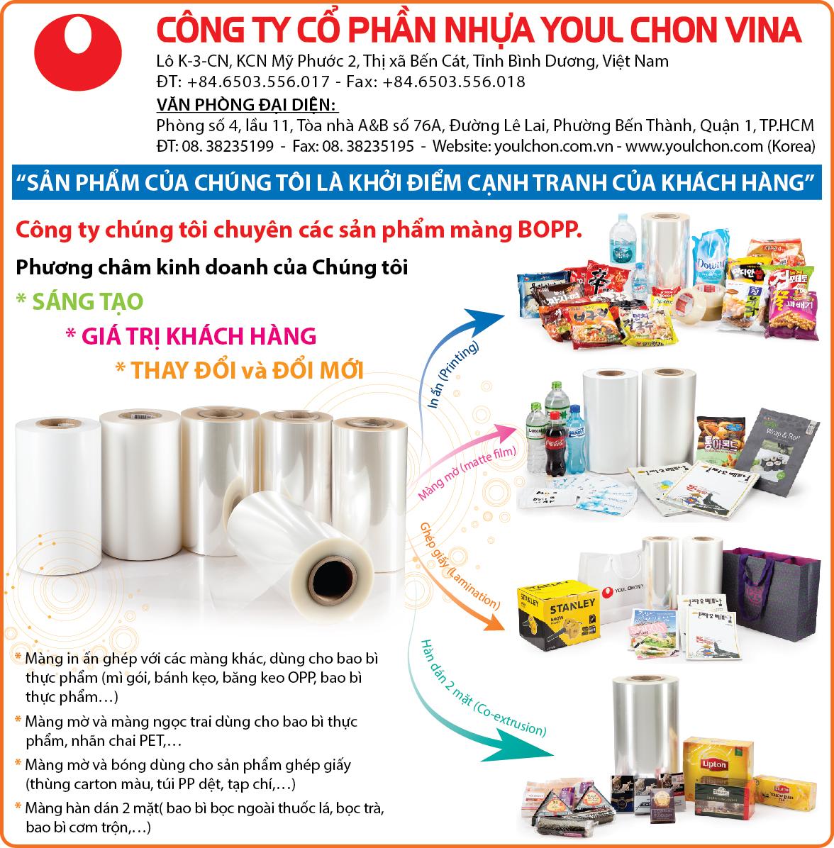 Nhựa bao bì Youl Chon Vina - màng nhựa BOPP; màng BOPP thường; màng BOPP ghép phức hợp; màng BOPP mờ; màng BOPP ngọc; màng nhựa dùng sản xuất bao bì, màng nhựa dùng đóng gói may mặc, màng nhựa dùng in ấn