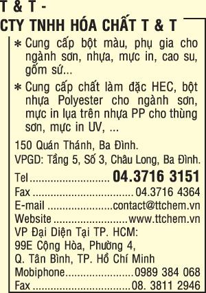 CÔNG TY TNHH HÓA CHẤT T & T