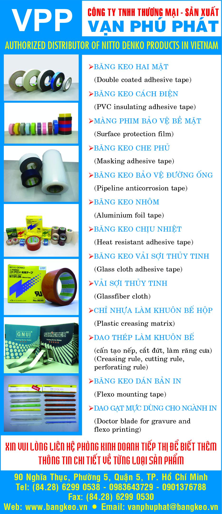 Băng dán, băng công nghiệp, băng bảo vệ - Vạn Phú Phát - Băng keo nhôm - Băng keo chịu nhiệt - Băng keo vải sợi thủy tinh - băng keo che phủ