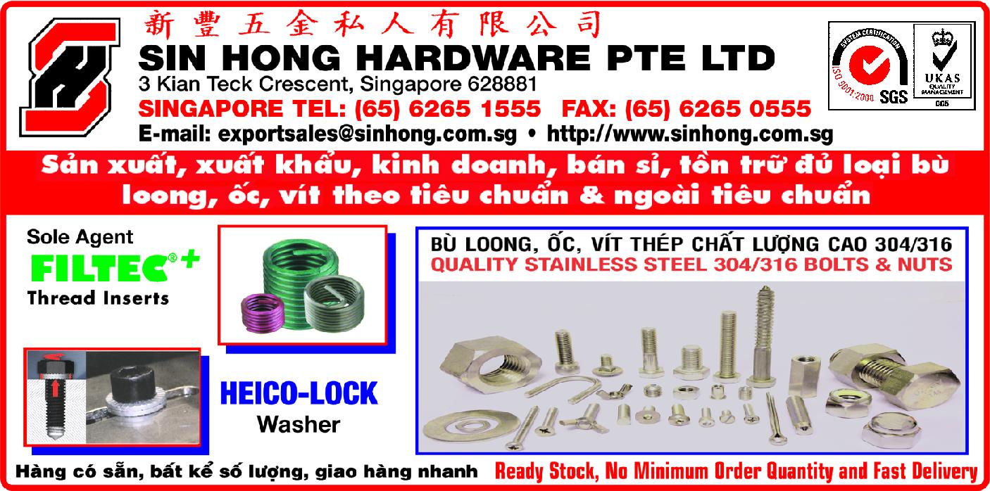 ỐC VÍT BÙ LOONG SIN HONG HARDWARE PTE LTD 65 62651555