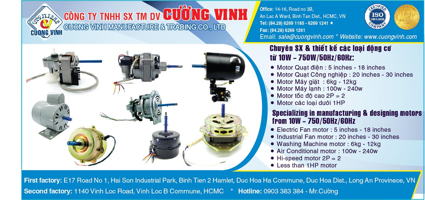 Động cơ điện - Sản xuất & Buôn bán - Cường Vinh - motor fan hcm - fan motor hcm